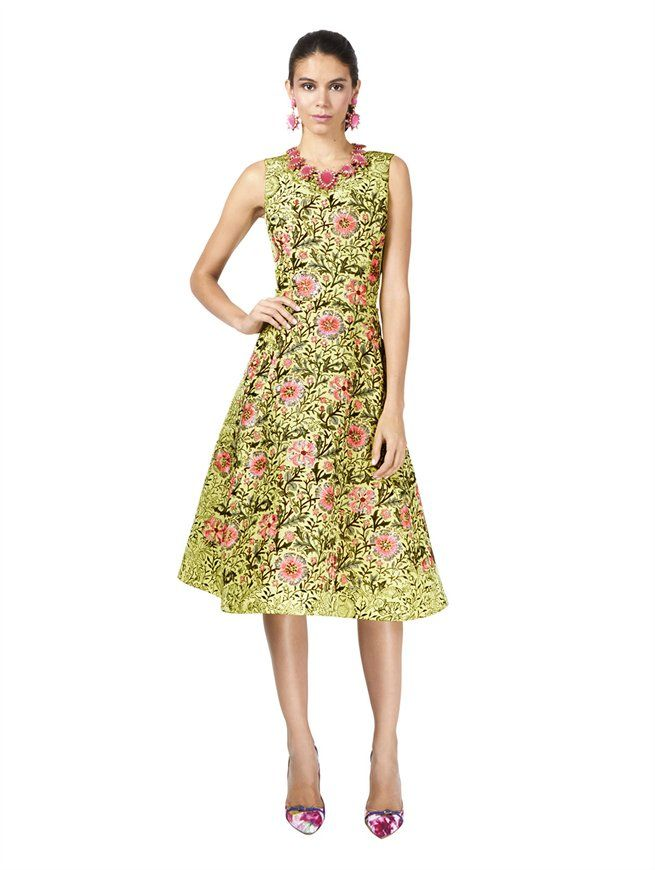 SLEEVELESS PRINTED FLORAL DRESS Oscar de la Renta