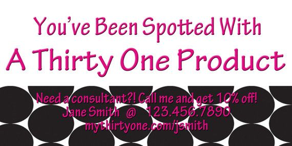 Thirtyone spotted consultant card by mallidesigns on etsy 5 00