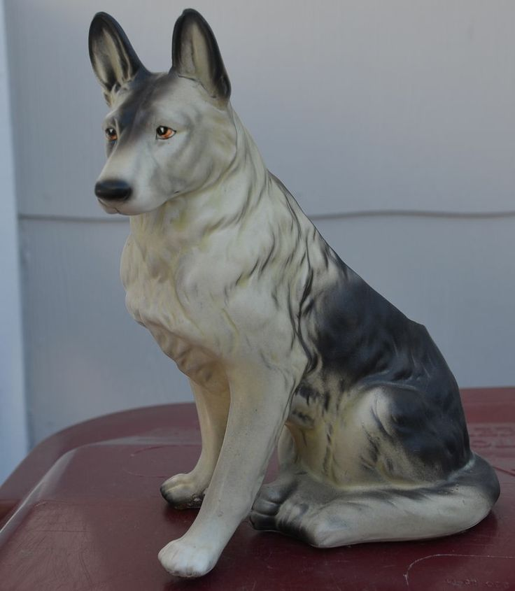 Black & Silver German Shepherd Dog Planter