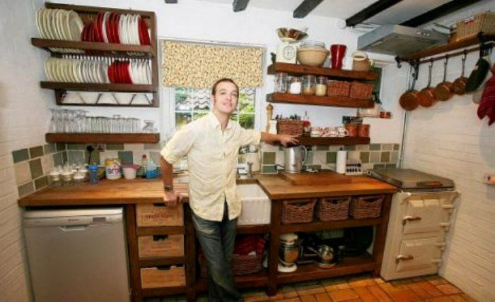 Kitchen Made Of Reclaimed Items Sourced From Building Salvage Yards