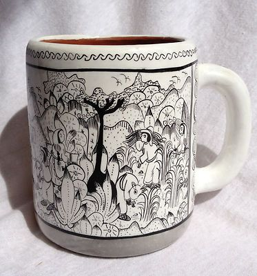 Very detailed line art pencil drawing coffee mug mexican pueblo artist
