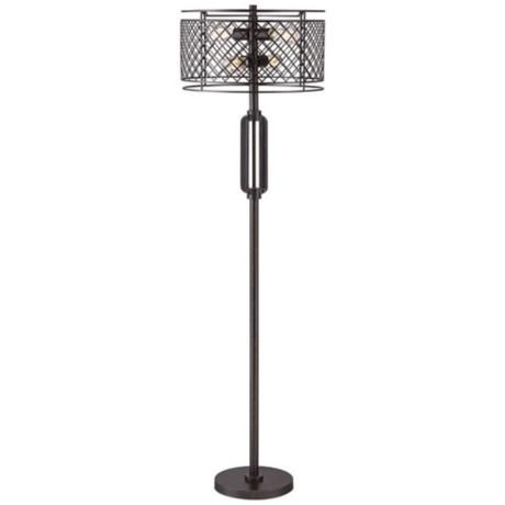 franklin iron works metal lattice bronze floor lamp 4g483 lampsplus. Black Bedroom Furniture Sets. Home Design Ideas