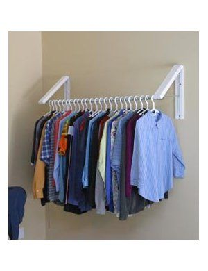Arrow Hanger AH3X12 Quik Closet Clothes Storage System. Wall mounted, retractable hanging rack for small laundry room. This looks like just what I need.