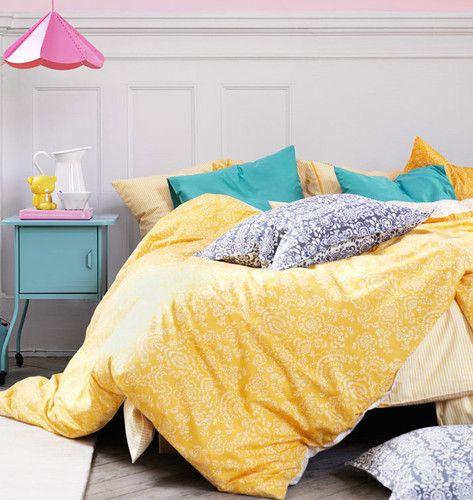 Ikea full queen duvet cover pillowcases akertistel yellow for Ikea comforter duvet cover