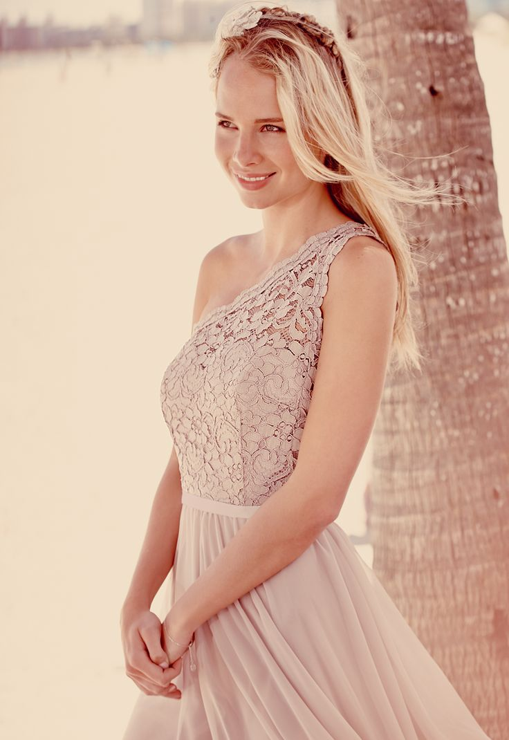 Short One Shoulder Contrast Corded Bridesmaid Dress Style F15711 by David's Bridal #beachweddings #bridesmaiddress #davidsbridal