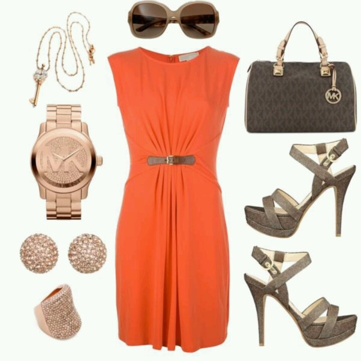 Orange dress Neutral accessories | Fashion