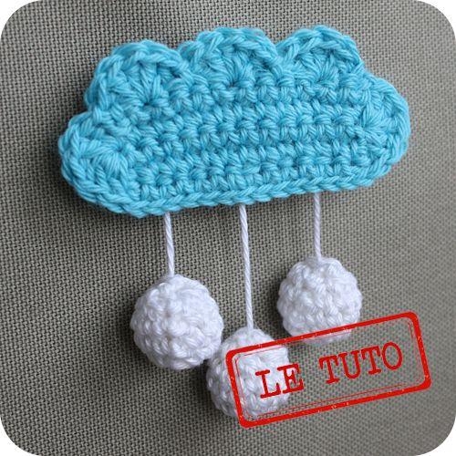 Fun Crocheted Cloud Applique CROCHET.applique.motif ...
