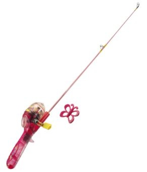 shakespeare barbie lighted fishing rod and reel kit for kids