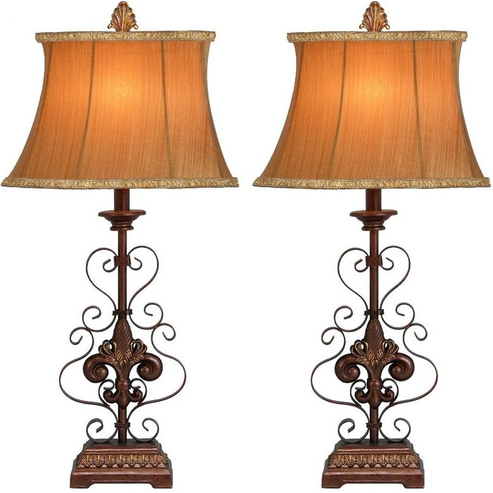 fleur de lis table lamp set of 2 dream home pinterest. Black Bedroom Furniture Sets. Home Design Ideas