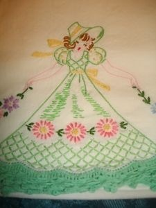 My mother made lots and lots of these dish towels and pillowcases.