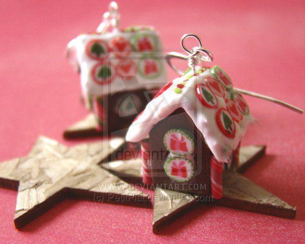 Gingerbread house earrings by petitplat deviantart com on deviantart