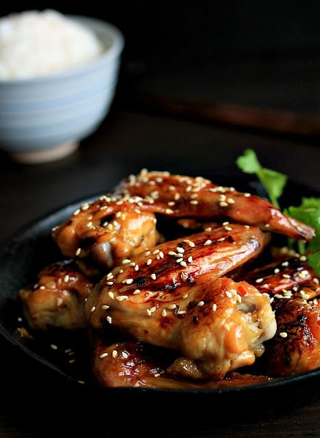 Japanese sticky sesame chicken wings | food | Pinterest
