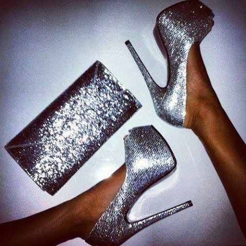 Silver Sparkle glitter heels with platform and matching glitter bag