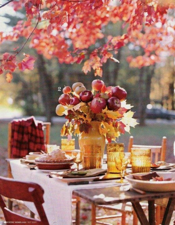 Autumn beautiful outdoor table setting tables and for Outdoor table centerpieces
