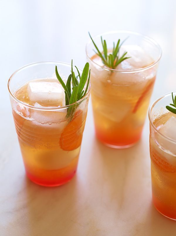 Cranberry, Tangerine, Rosemary, and Cream Soda Mocktails