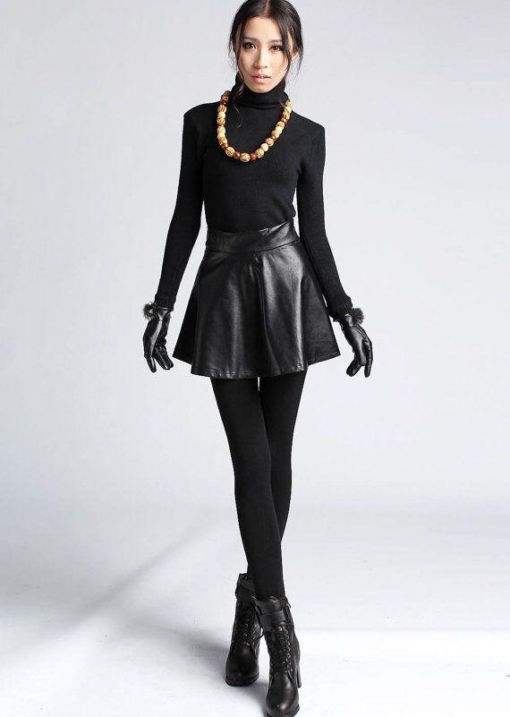 black leather look mini skirt 411