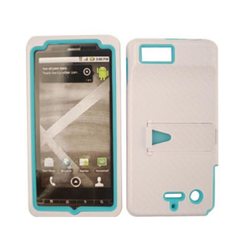 Blue u0026 White Hybrid Hard Cover 2 in 1 Stand W/ Case For Motorola Droi ...