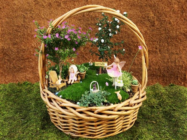 Basket mini fairy garden ideas fairy gardens pinterest for Ideas for miniature fairy gardens