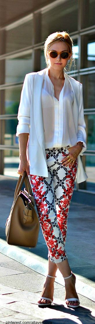 floral trousers with top white, perfect street chic