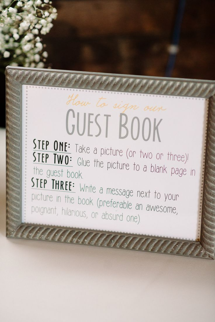 Photobooth guest book instructions wedding ideas for Photo wedding guest book