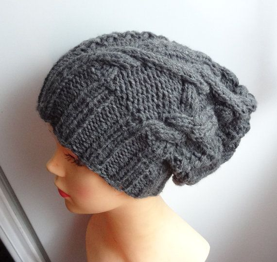 Knitting Pattern For Dolls : Handmade Knit Cable Hat Beanie Slouchy Hat Beanie Large for Men / Wom?