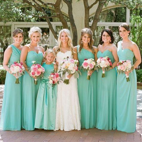 Light Turquoise Bridesmaid Dresses | Bridal Party | Pinterest