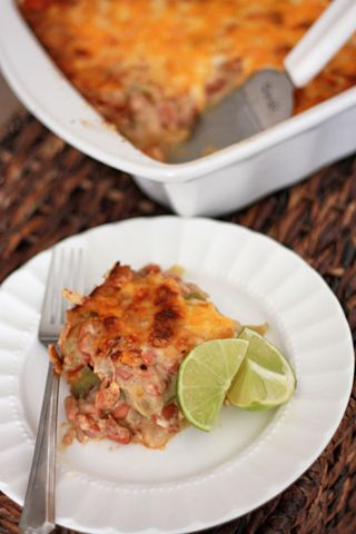 Vegetarian Green Chile and Pinto Bean Casserole