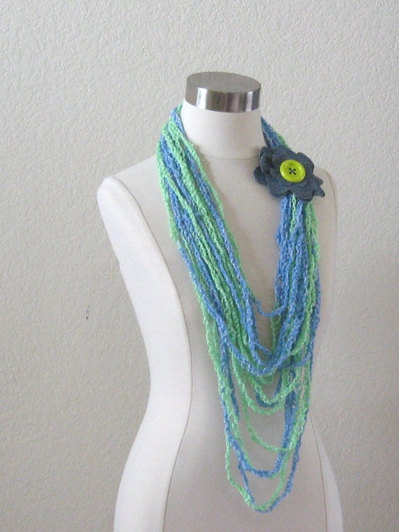 SUMMER SCARF NECKLACE Fashion Crochet Scarflette Lariat Loop Ooak Han  Fashion Scarves To Crochet