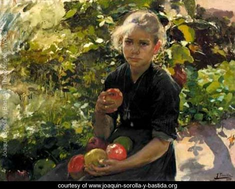 Nina Comiendo Manzanas (Young Girl Eating Apples)    Joaquin Sorolla y Bastida