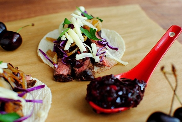 Steak Tacos with Chipotle Cherry Salsa | Yummers... | Pinterest