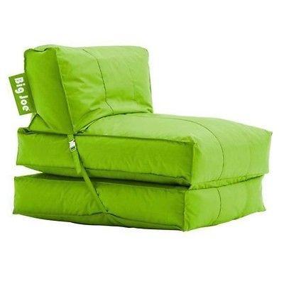 Big joe flip lounger green bean bag chair dorm kids room for Kids tv chair
