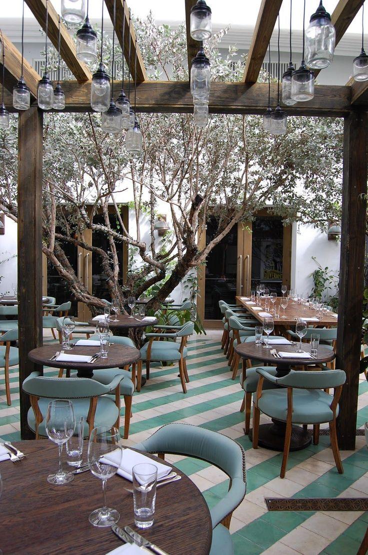 Cecconi's, a restaurant in Miami designed by Martin Brudnizki. #danish_chair #jar_fixture #robin's_egg