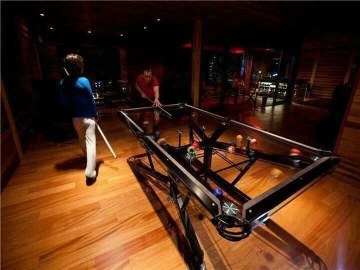Cool pool table man cave pinterest for Glass billiard table