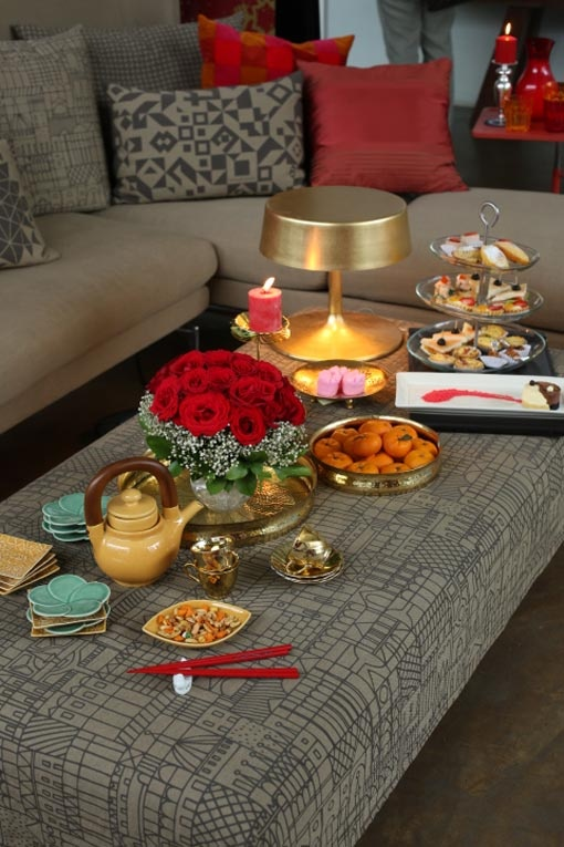 Coffee table setting for Chinese New Year feast, ... | Wine and Dine
