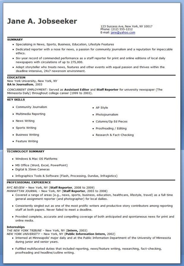 exle resume exle resume journalist