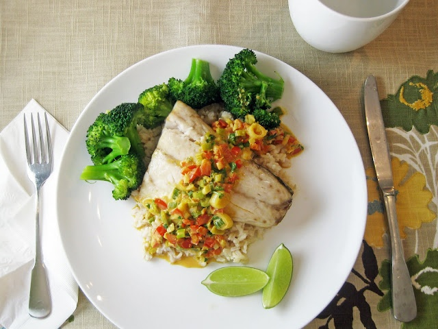 Broiled Rockfish with Thai Coconut-Curry Sauce