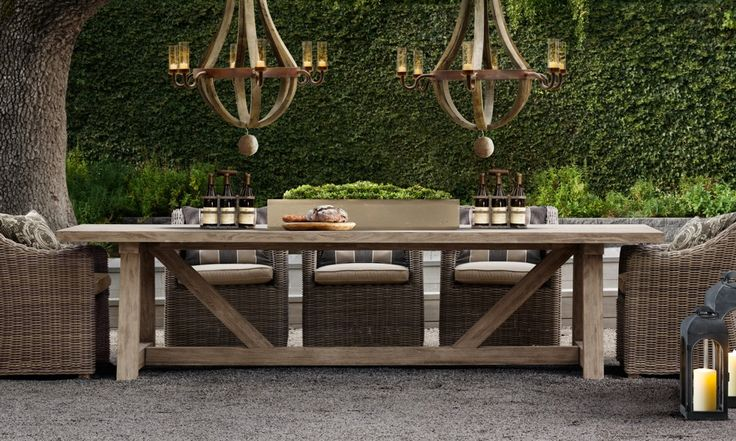Love the big farmhouse outdoor table Outdoors