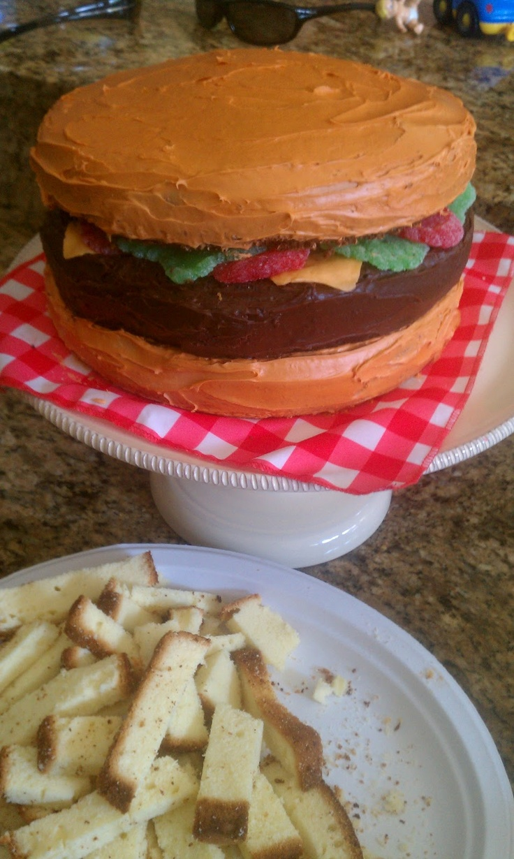hamburger cake + cake french fries | Foodie | Pinterest
