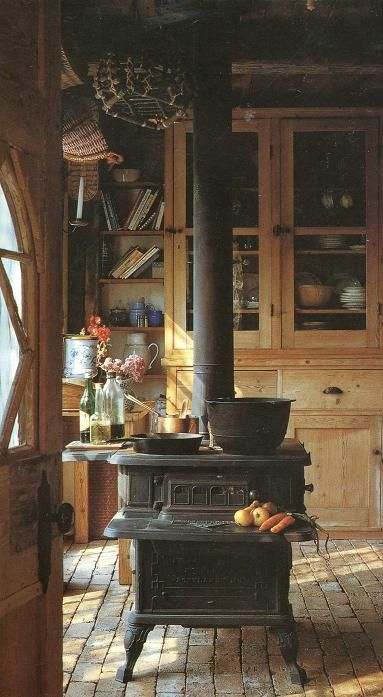 Cast iron stove in a rustic kitchen
