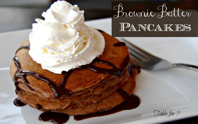 ... Brownie Batter Pancakes #breakfast #brownies #chocolate #pancakes