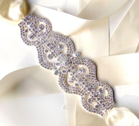 media silver rhinestone encrusted bridal belt sash custom ribbon extra long crystal wide wedding dre