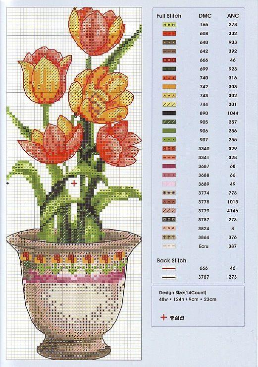 Вышивки крестом цветы в вазе схема 14