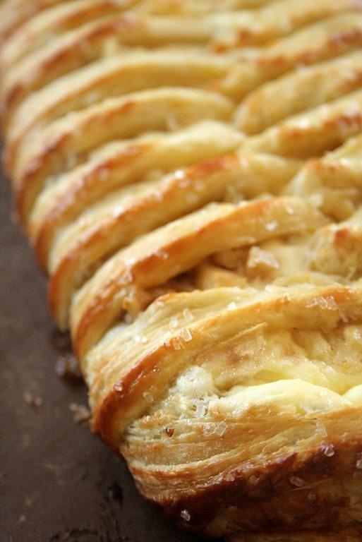 White chocolate cream cheese Danish braid with tart apples & walnuts