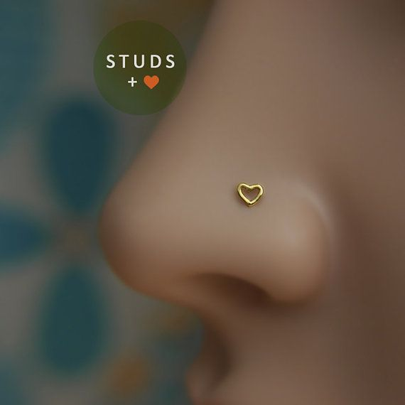 NOSE STUD /Cute Heart/ 3mm/ 24K Gold plated/ Piercing ...
