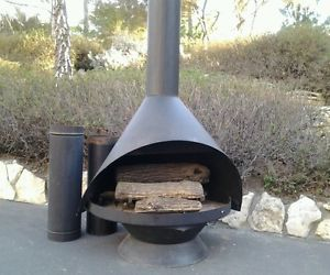 Mid Century Cone Free Standing Fireplace Indoor Outdoor Patio Eames E