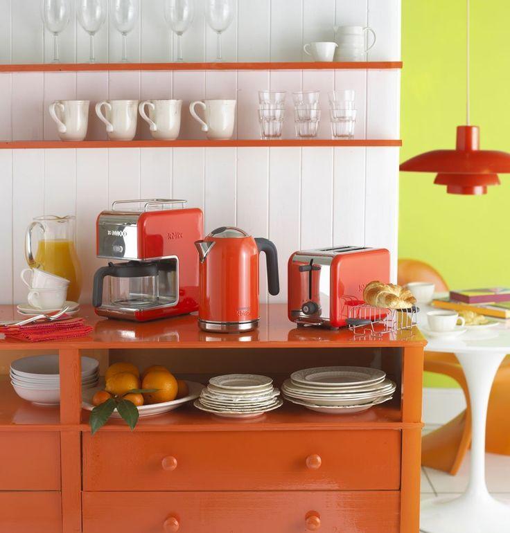 sunny orange, red and grey kitchen  Room design  Pinterest