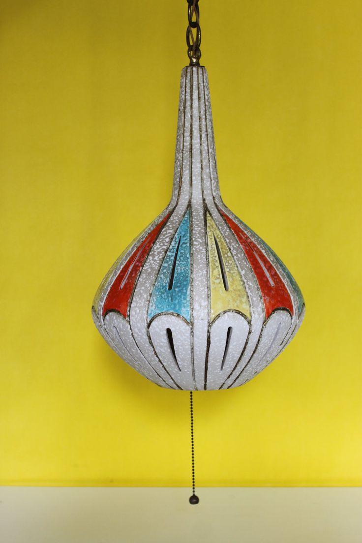 mid century ceramic pendant hanging lamp via etsy. Black Bedroom Furniture Sets. Home Design Ideas