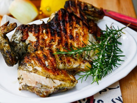 ... grilled chicken under a brick…just like they do in Italy