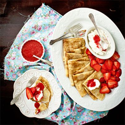Crepes, Dulce de Leche, Honey Whipped Cream and Strawberry Sauce # ...