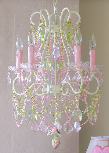 PInk & Green Crystal Chandelier....love the little shoe!!